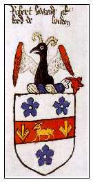 Armorial Bearings granted to Robert Lord alias Laward of London in 1510; College of Arms MS L10 folio 105b; copyright of the College of Arms, London. Used by permission.