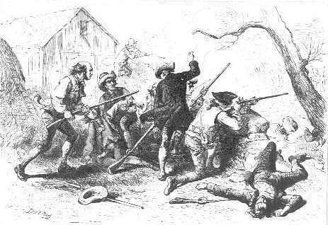 A battle scene from the Revolution.